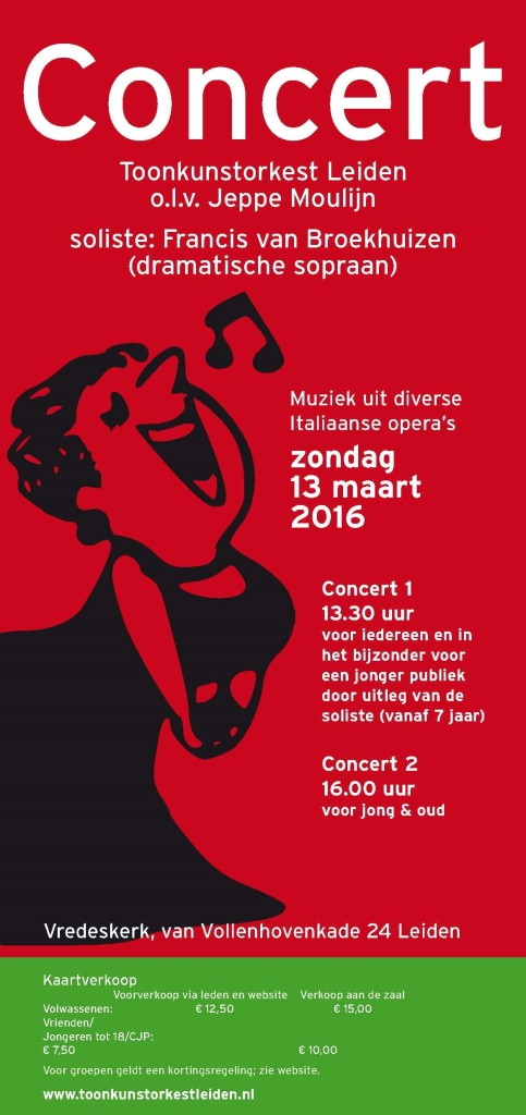 Operaconcert 13 maart Toonkunstorkest Leiden